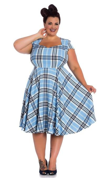 Hell Bunny Aberdeen Pastel Blue 50's Dress (Plus Size) - Bohemian Finds