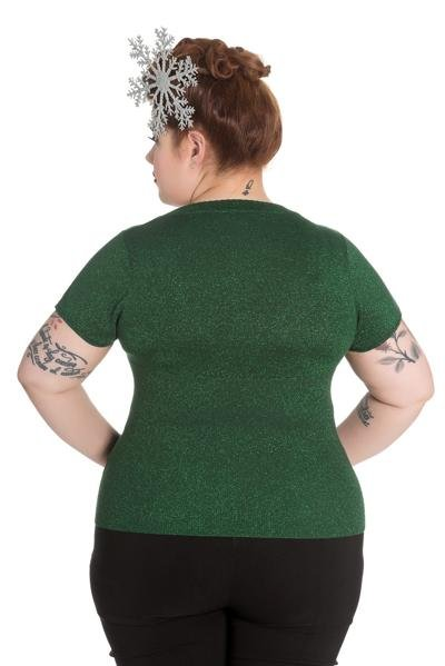 Hell Bunny Angette Green Top (Plus Size) - Bohemian Finds
