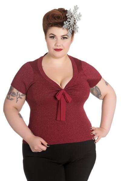 Hell Bunny Angette Red Top (Plus Size) - Bohemian Finds
