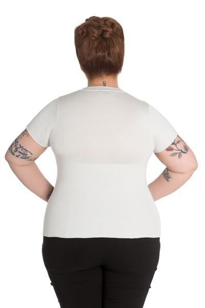 Hell Bunny Angette Silver Top (Plus Size) - Bohemian Finds