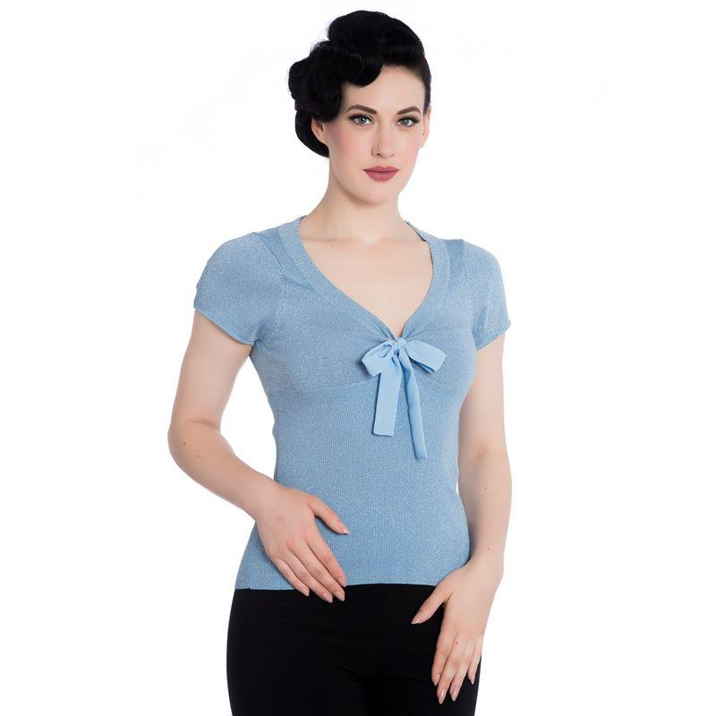 Hell Bunny Angette Top (Sky Blue) - Bohemian Finds