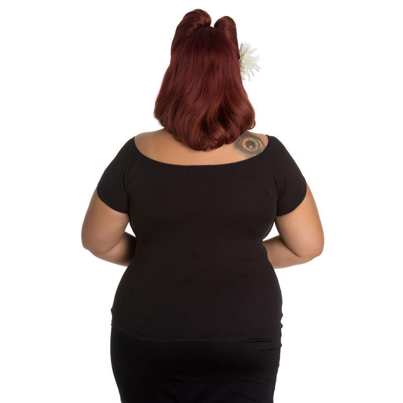 Hell Bunny Black Bardot Top (Plus Size) - Bohemian Finds