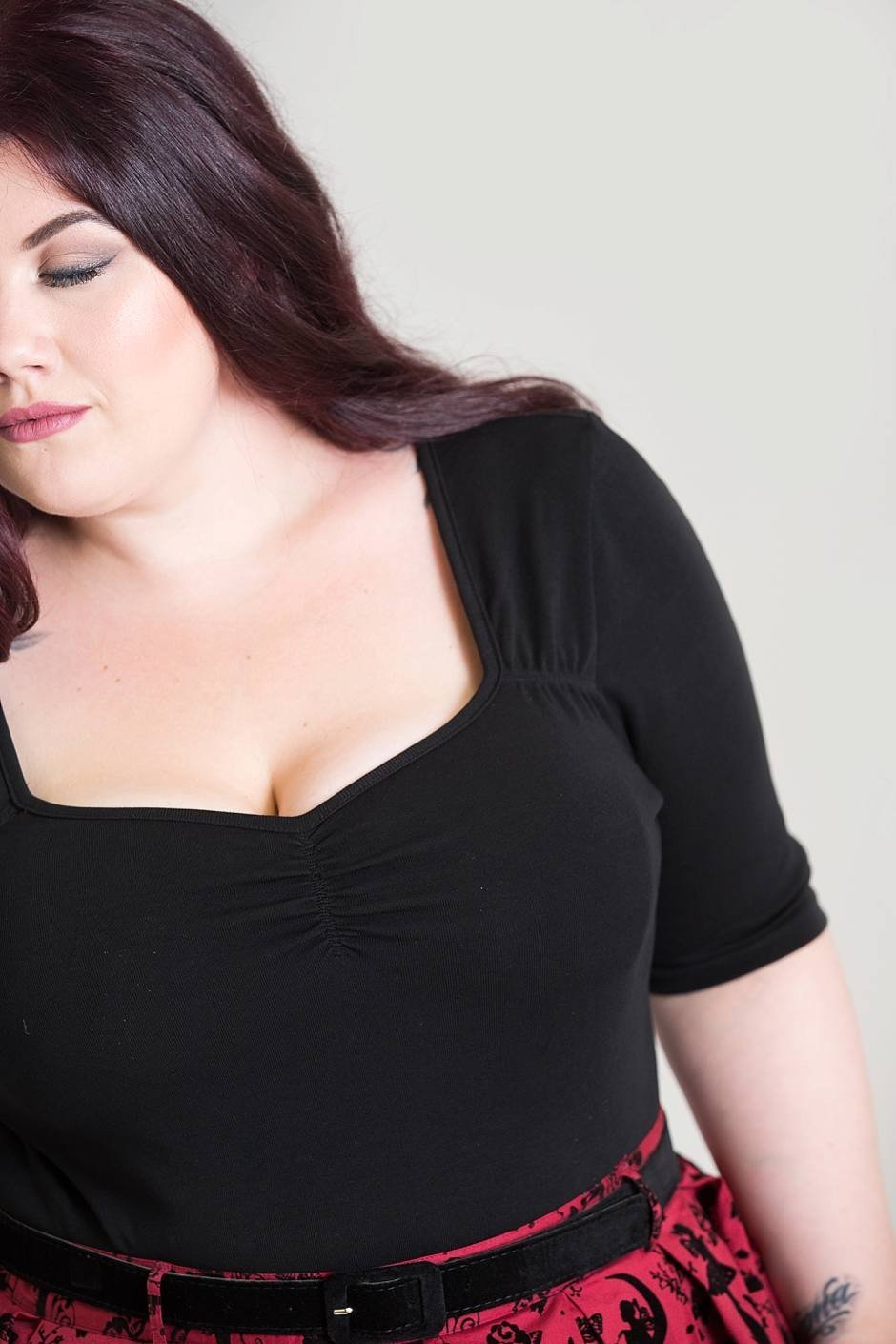 Hell Bunny Black Philippa Top (Plus Size) - Bohemian Finds