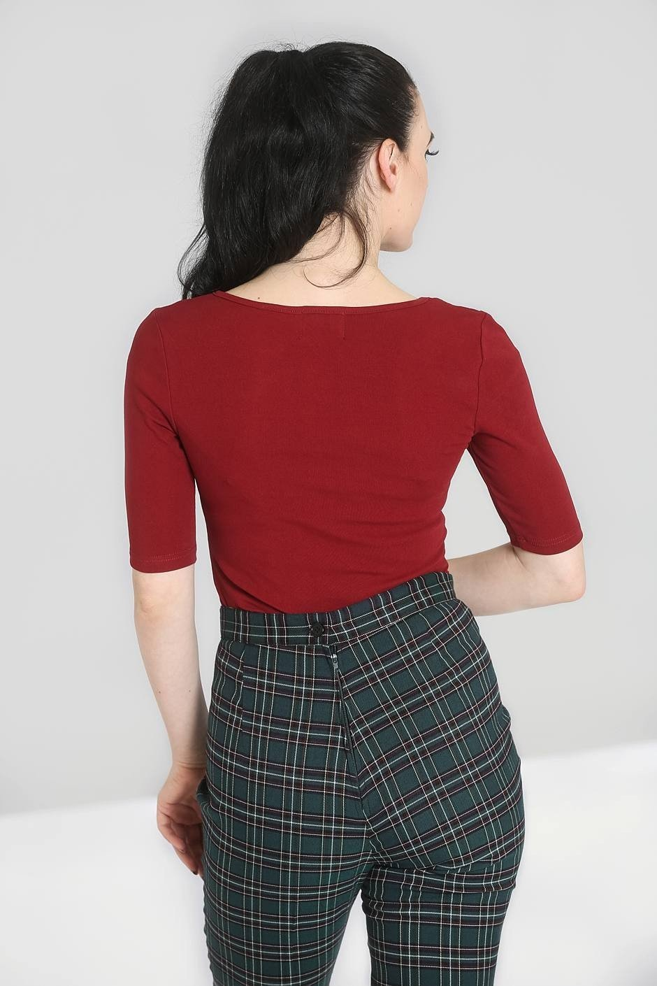 Hell Bunny Burgundy Philippa Top - Bohemian Finds