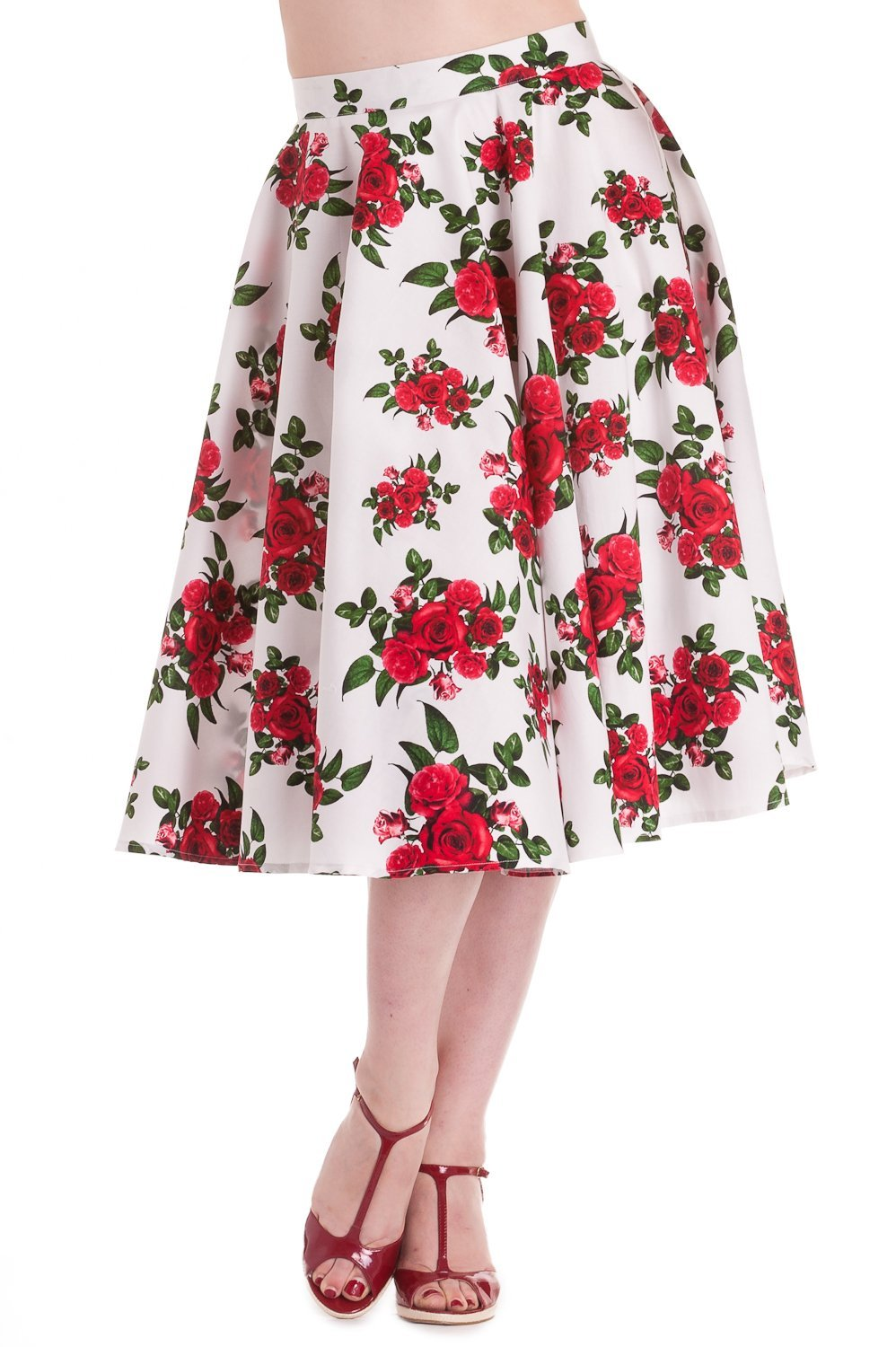 Hell Bunny Cannes Floral White/Red Roses Skirt - Bohemian Finds