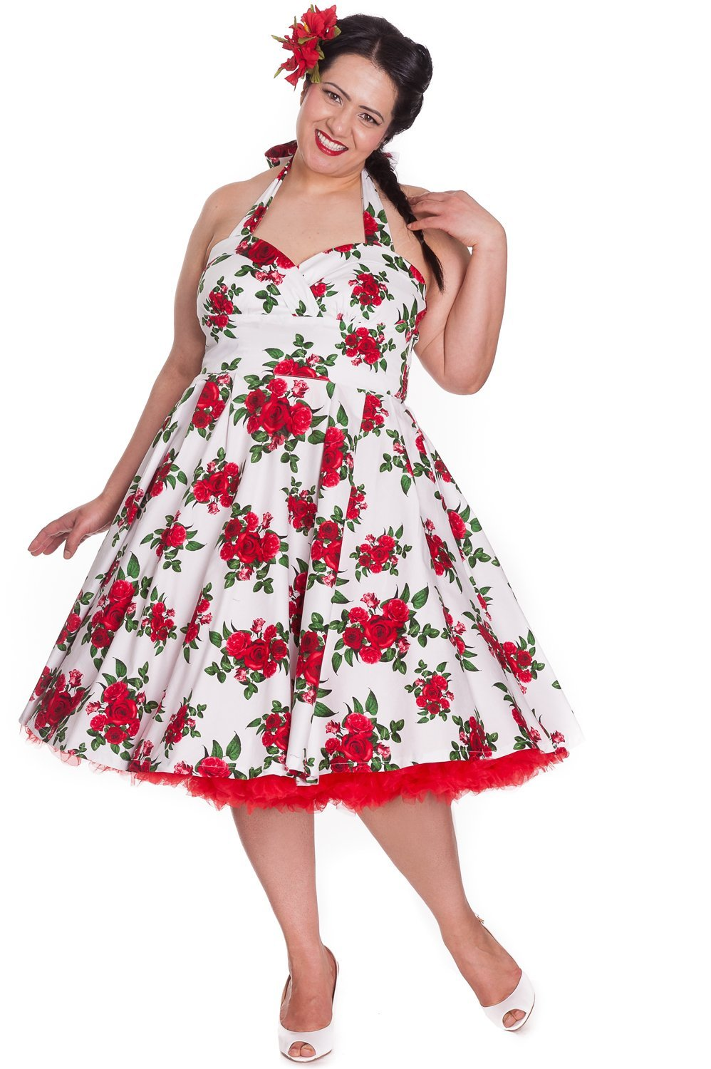 Hell Bunny Cannes White/Red Roses Dress (Plus Size) - Bohemian Finds