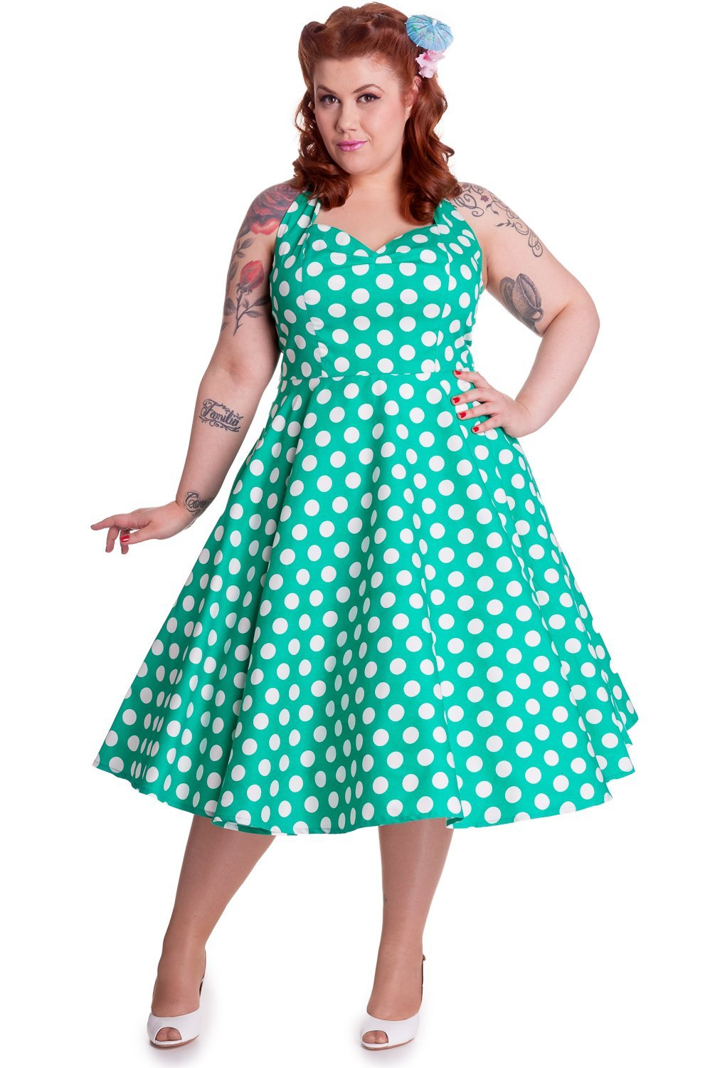 Hell Bunny Green Mariam Dress (Plus Size) - Bohemian Finds
