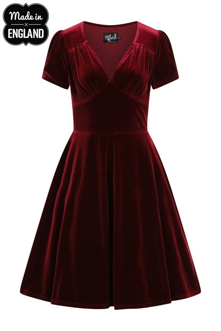 Hell Bunny Joanne Dress (Burgundy) - Bohemian Finds