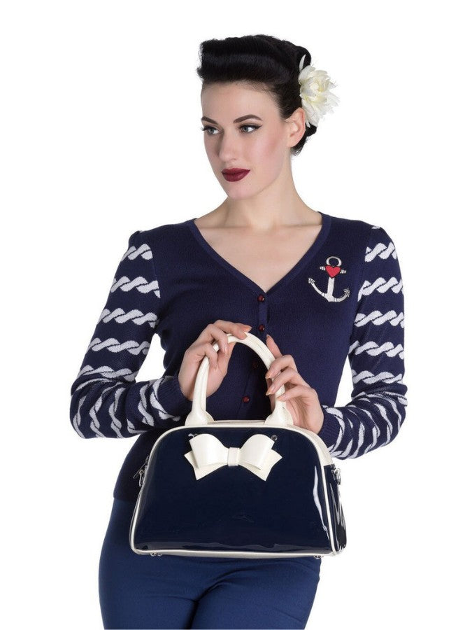 Hell Bunny Lola 50s Bag (Navy/Cream) - Bohemian Finds