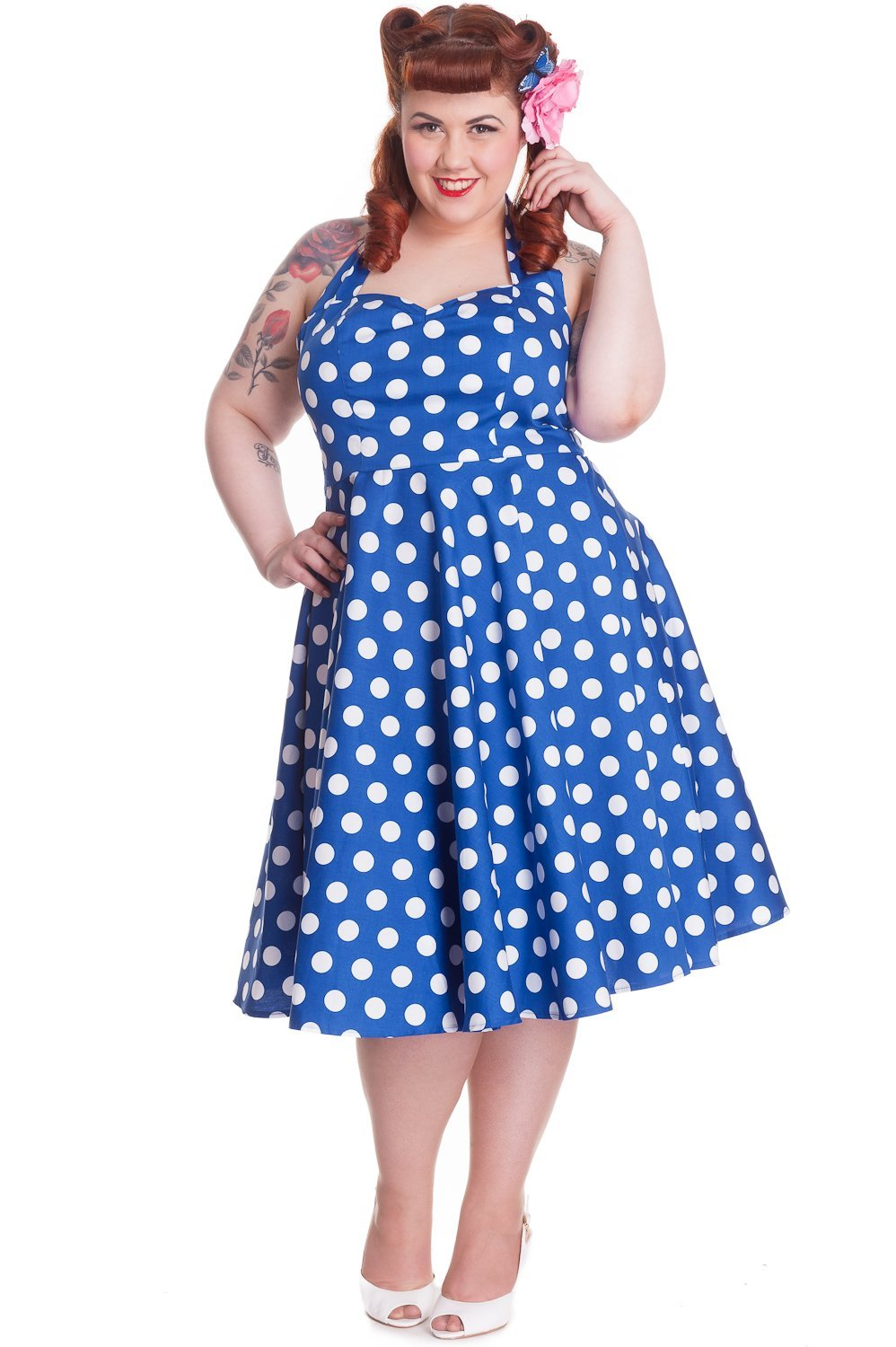 Hell Bunny Mariam Blue Dress (Plus Size) - Bohemian Finds