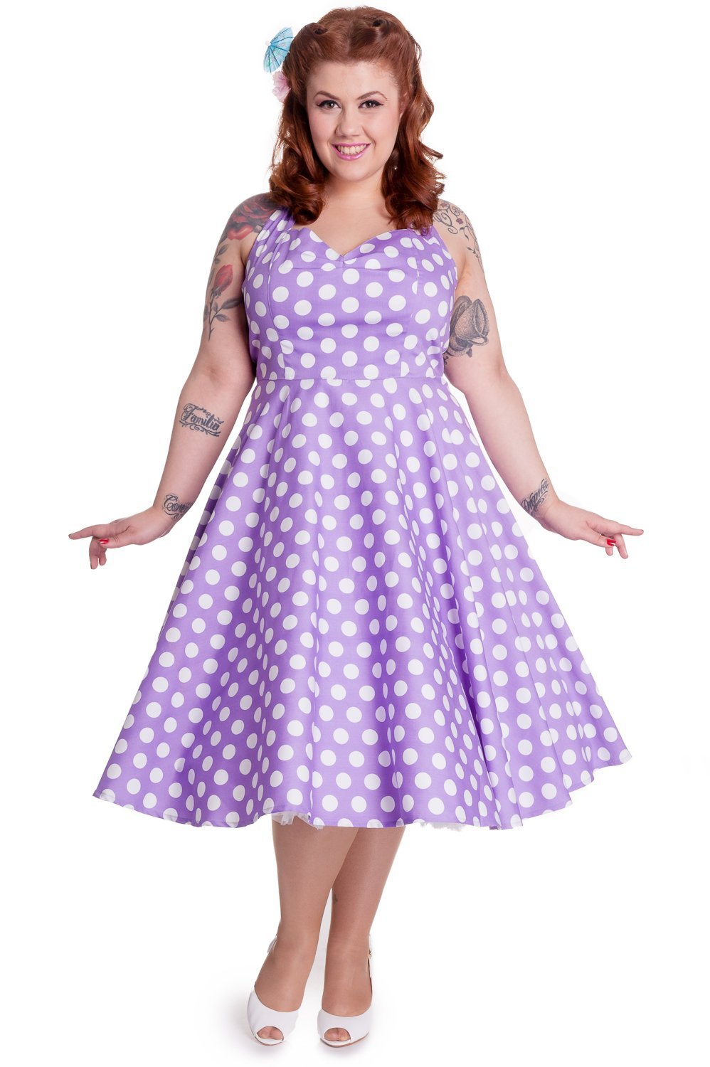Hell Bunny Mariam Lilac Dress (Plus Size) - Bohemian Finds