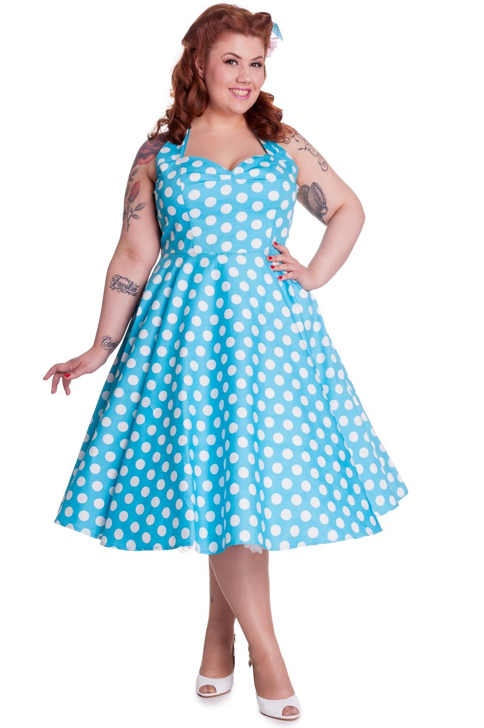 Hell Bunny Mariam Turquoise Dress (Plus Size) - Bohemian Finds