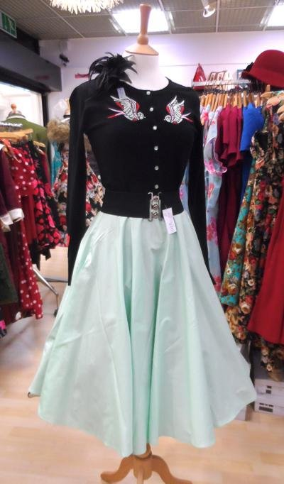 Hell Bunny Paula 50's Skirt (Mint) - Bohemian Finds