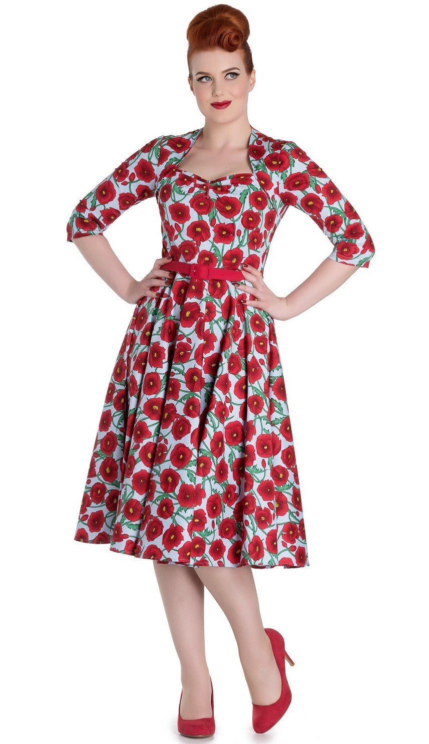 Hell Bunny Poppy Blue 50's Dress - Bohemian Finds