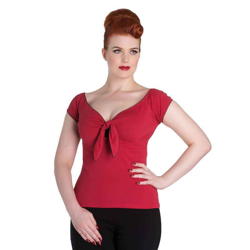 Hell Bunny Red Bardot Top (Plus Size) - Bohemian Finds