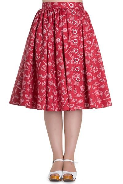 Hell Bunny Red Marin Skirt - Bohemian Finds