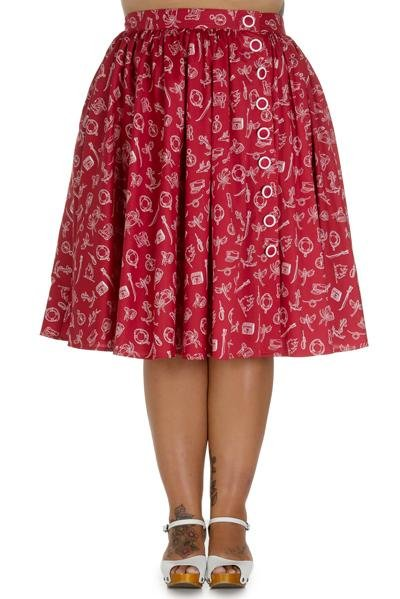 Hell Bunny Red Marin Skirt (Plus Size) - Bohemian Finds