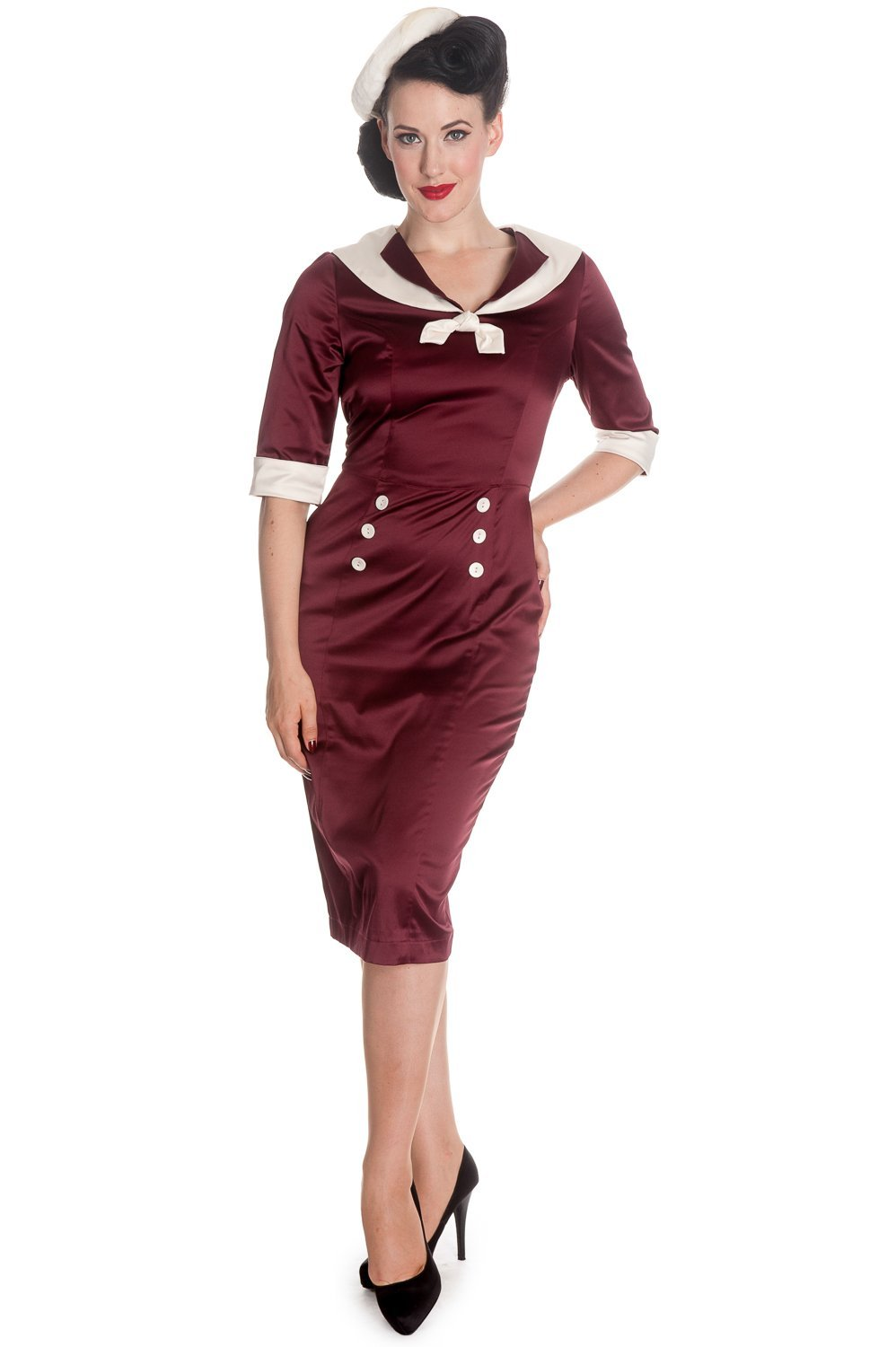 Hell Bunny Sandra Dee Burgundy Dress - Bohemian Finds