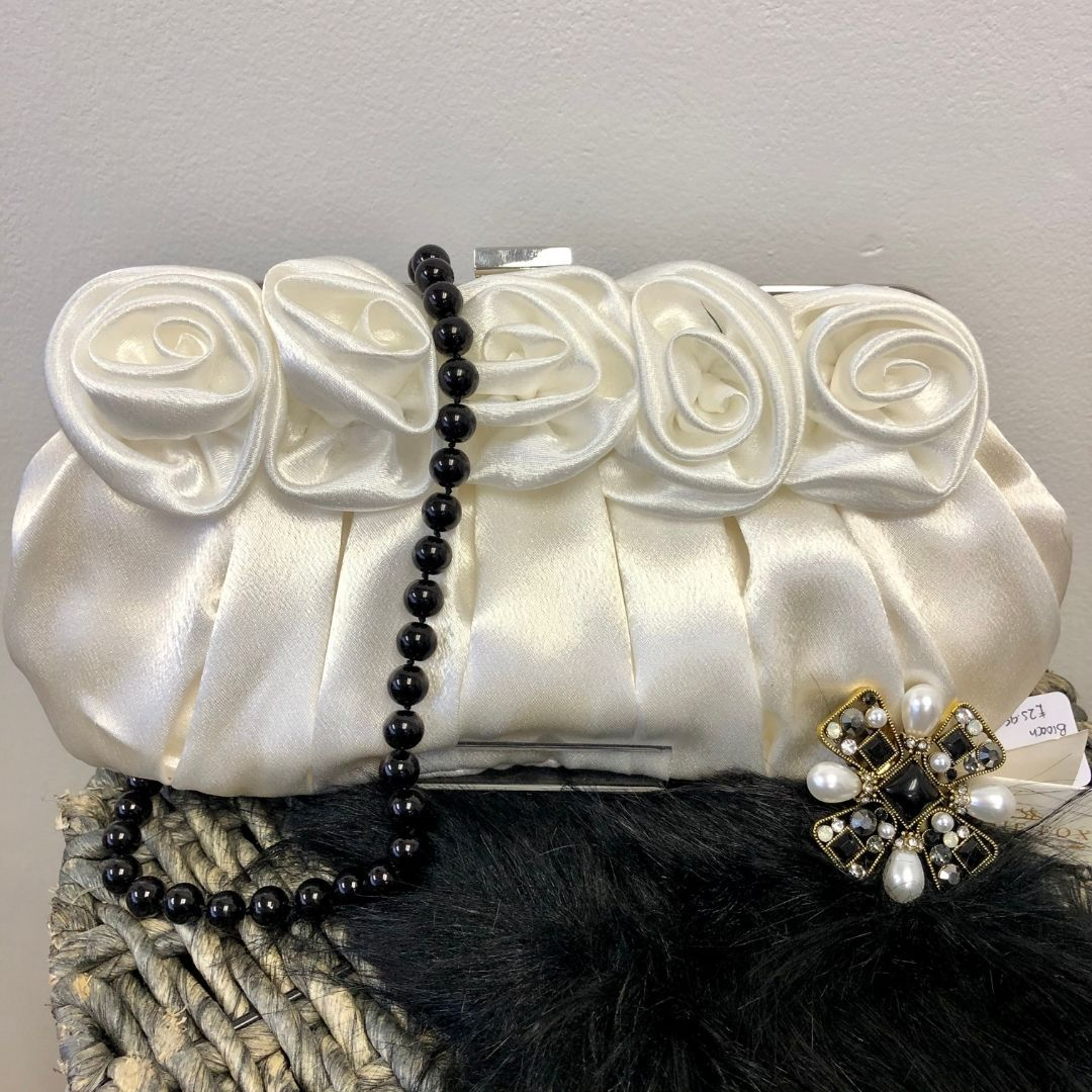Ivory Flower Satin Evening Clutch Bag - Bohemian Finds