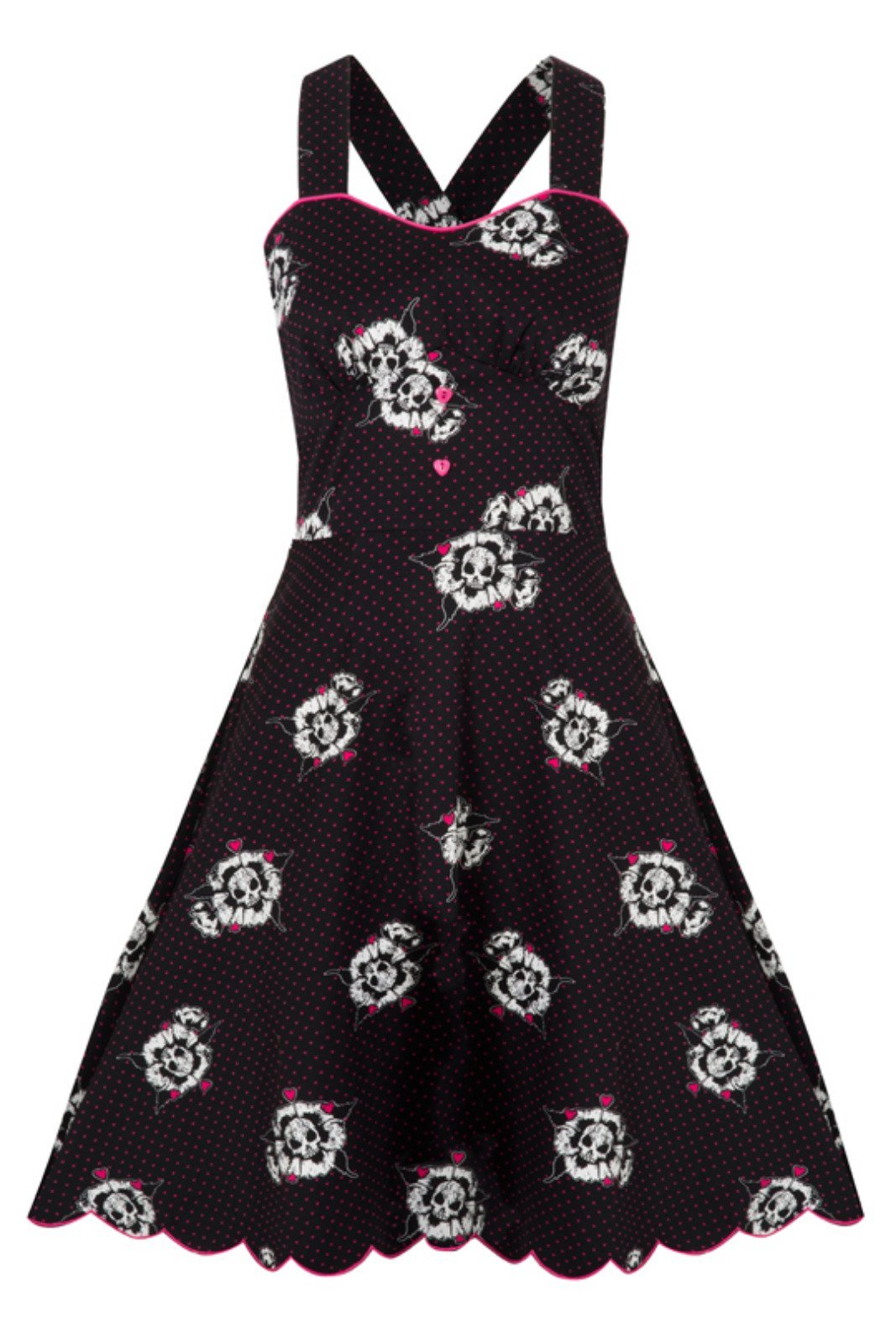 Jawbreaker Skulls Black/Pink Polka Dot Dress - Bohemian Finds