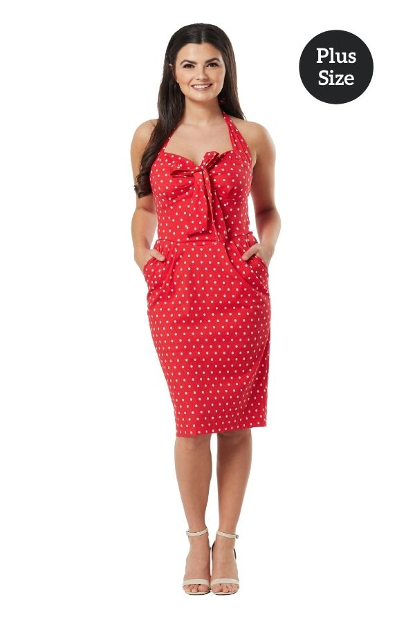 Timeless Lyric Red Polka Dot Wiggle Dress - Bohemian Finds