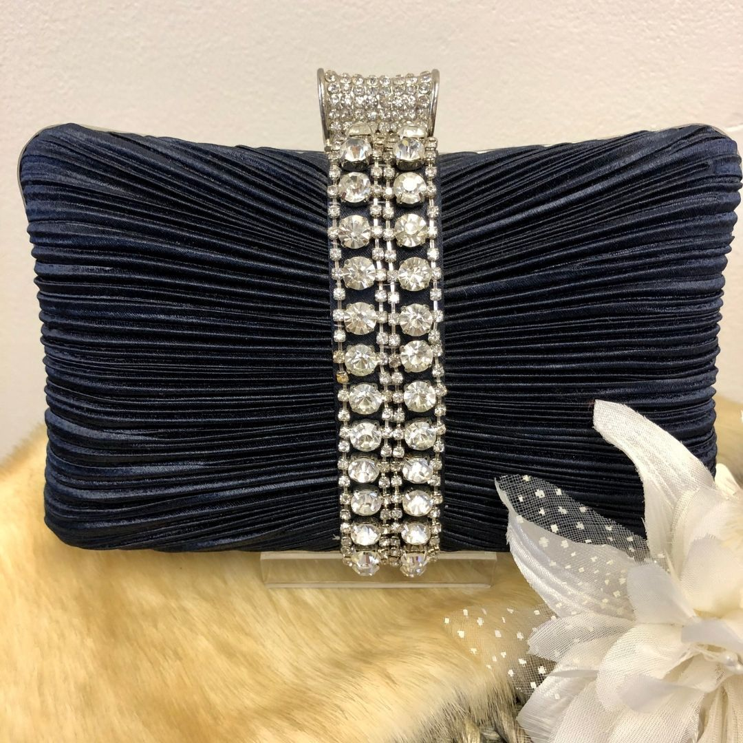 Navy Crystal Strip Clutch Evening Bag - Bohemian Finds