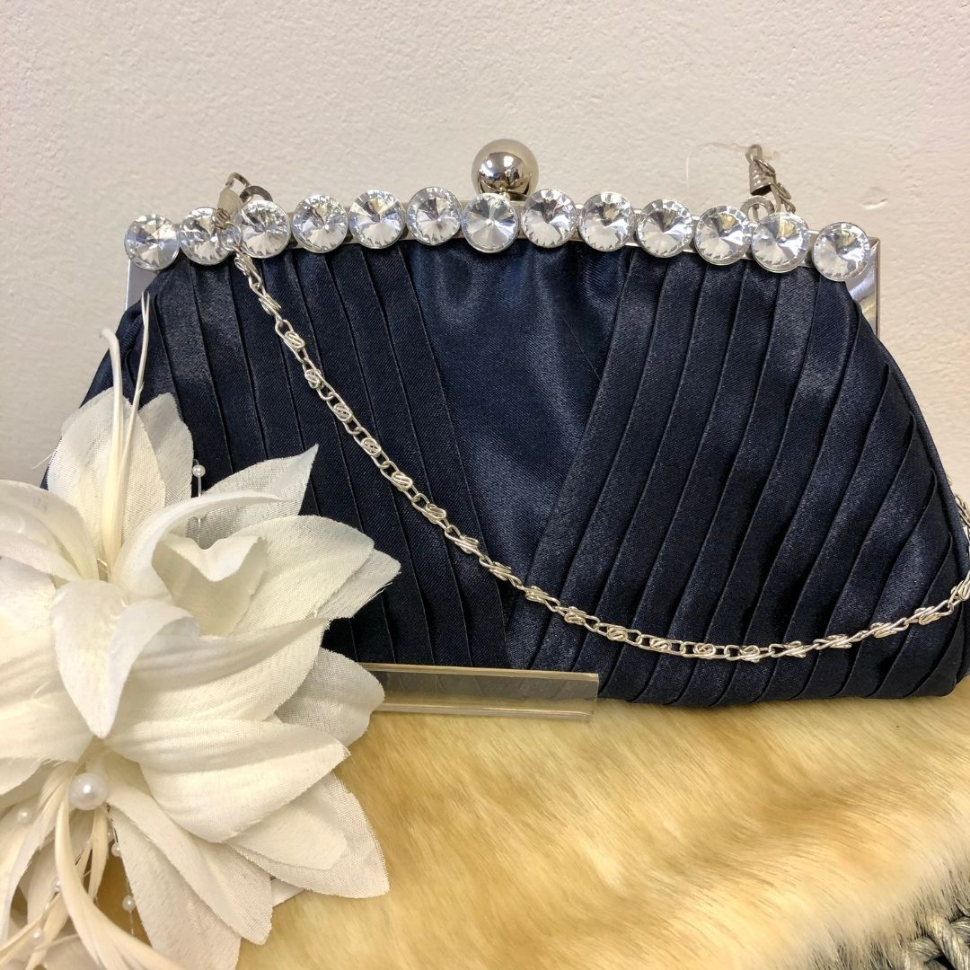 Navy Ruched Satin Evening Clutch Bag - Bohemian Finds
