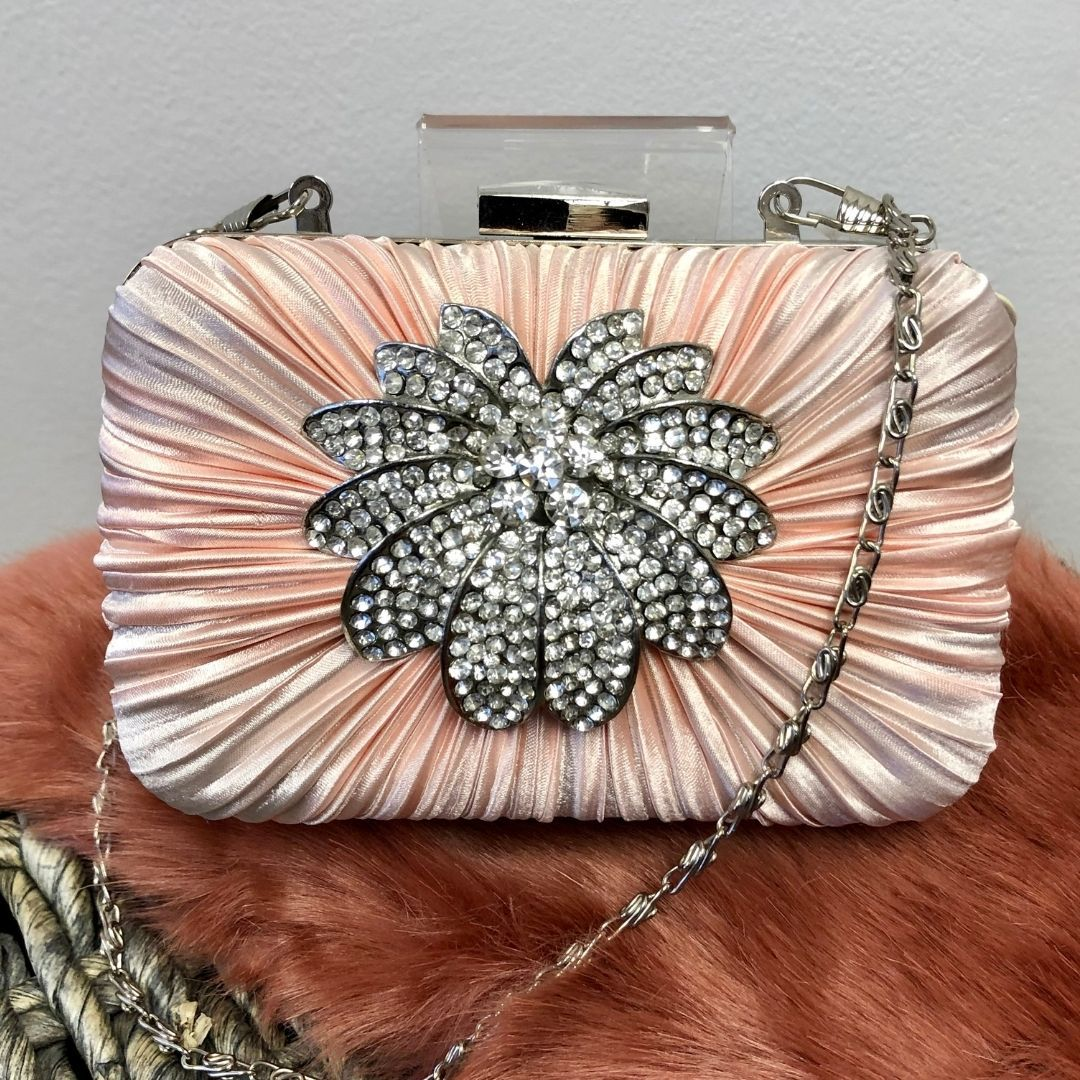 Pink Crystal Satin Rouched Hard Case Evening Bag - Bohemian Finds