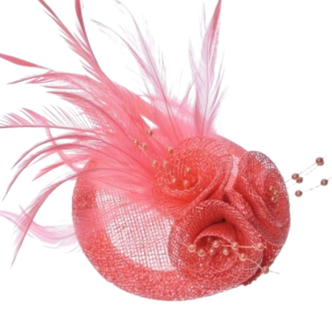 Salmon Feathered Hessian Round Hatinator - Bohemian Finds