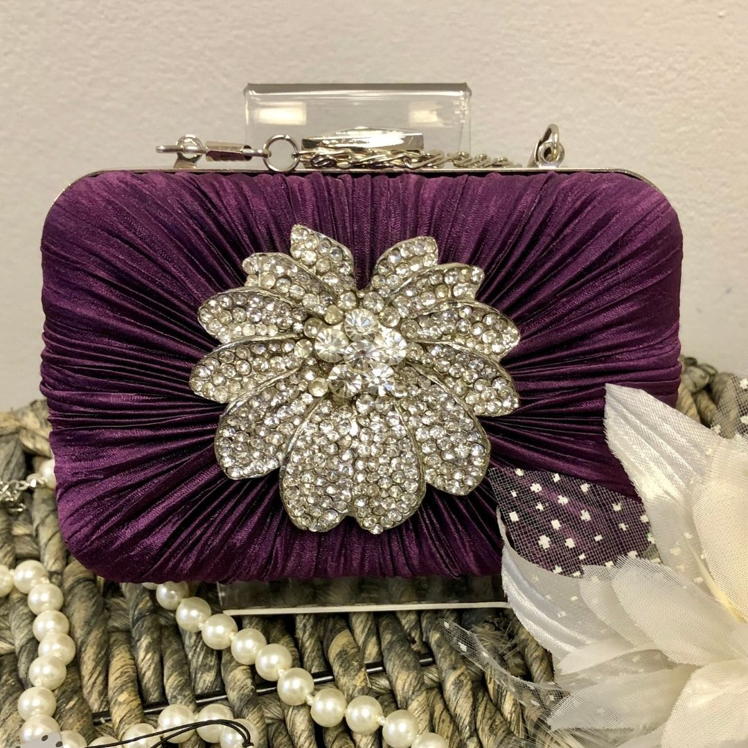 Purple Crystal Satin Rouched Brooch Hard Case purple Evening Bag - Bohemian Finds