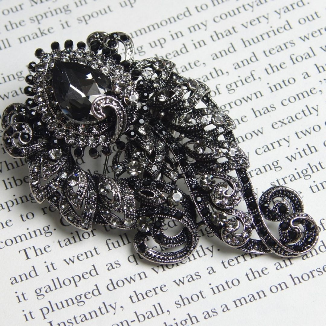 Rosie Fox Jet & Pewter Baroque Brooch & Hairclip - Bohemian Finds