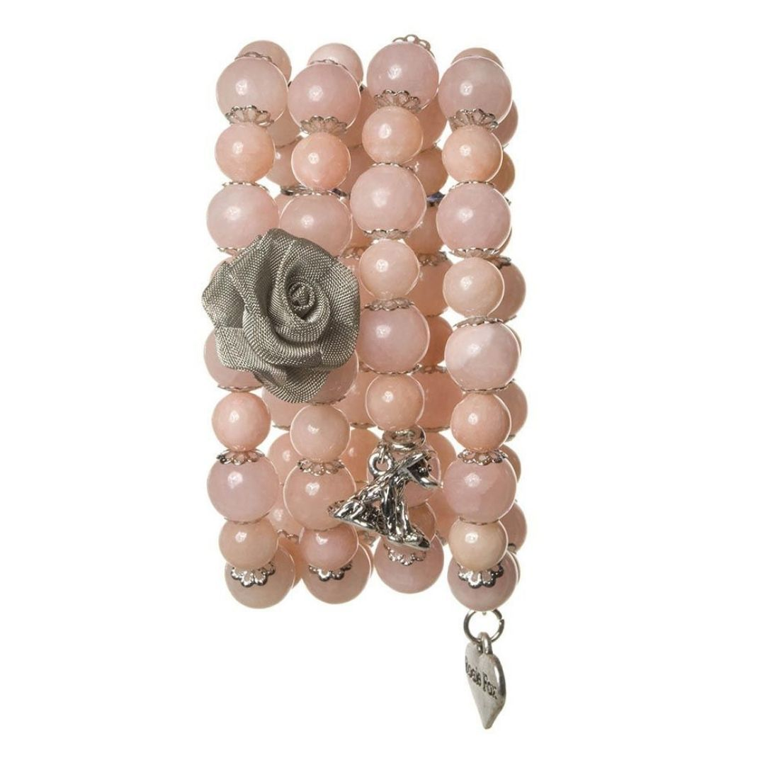 Rosie Fox  Peach Agate Stretch Cuff Bracelet - Bohemian Finds