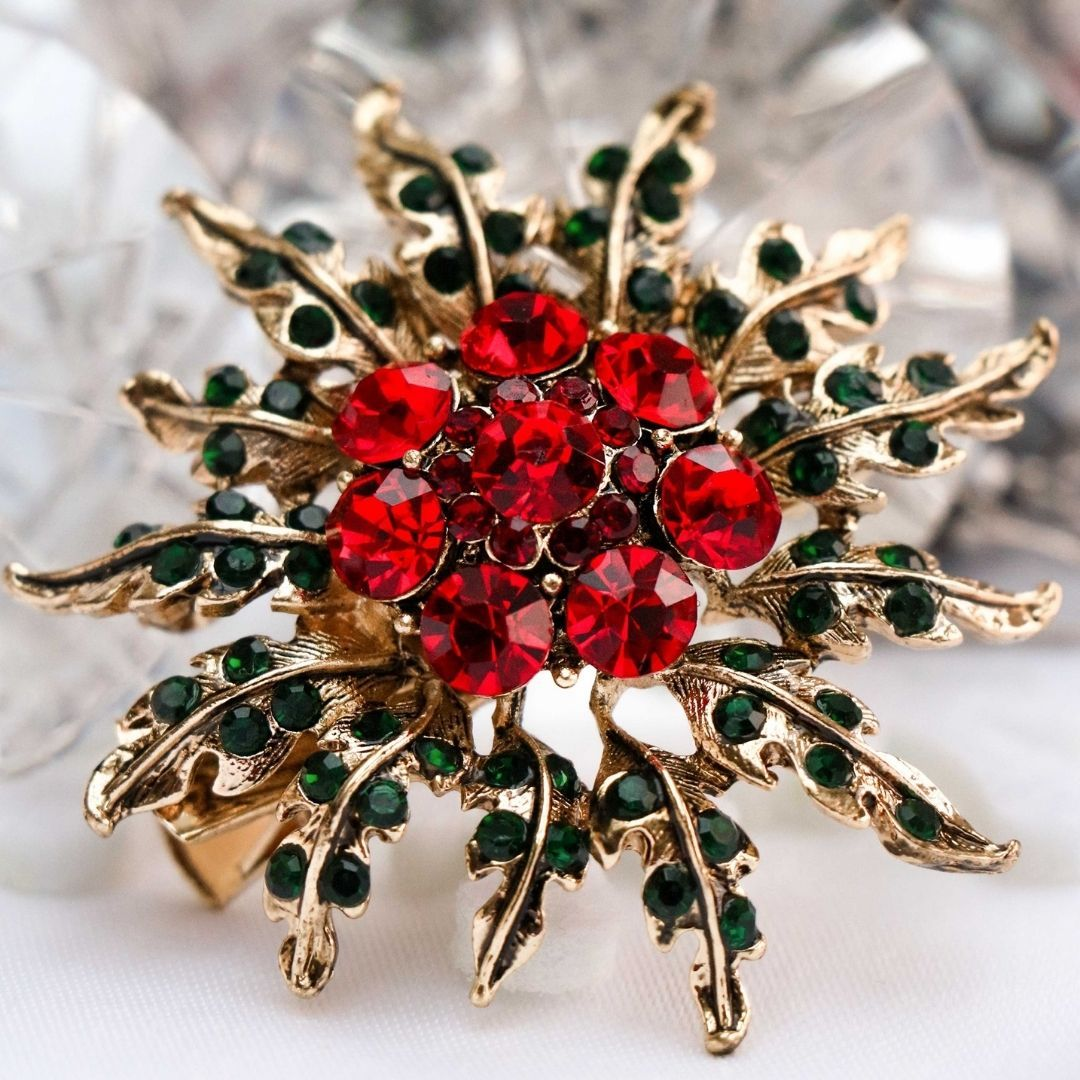 Rosie Fox  Red Blooming Floral Hairclip & Brooch - Bohemian Finds