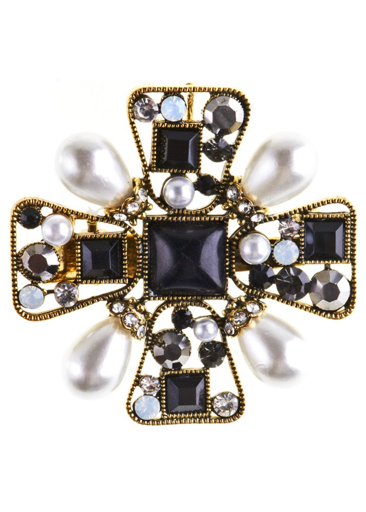 Rosie Fox Black Baroque Pearl Hairclip and Brooch - Bohemian Finds