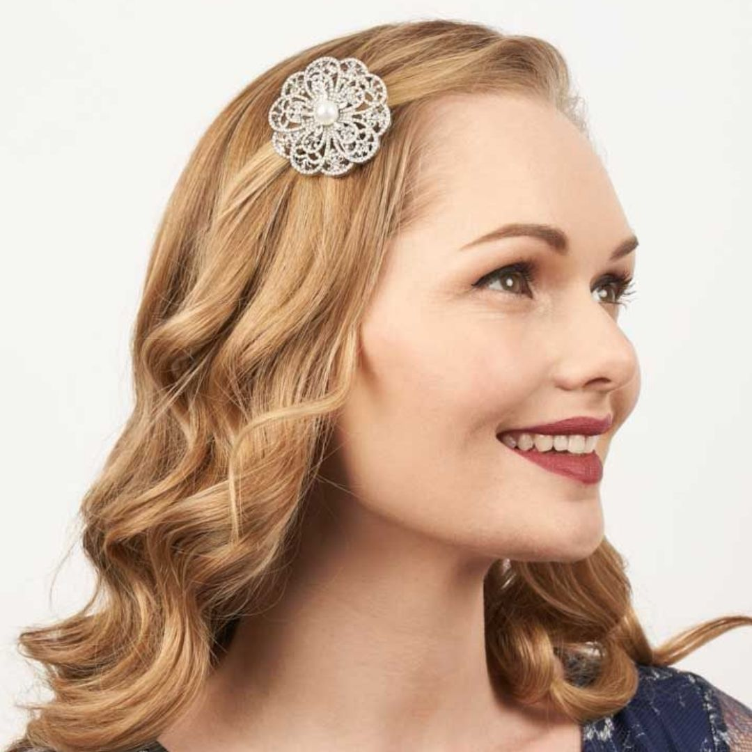 Rosie Fox Crystal & Freshwater Pearl Rose Hairclip & Brooch - Bohemian Finds