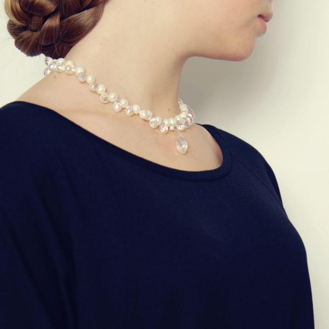 Rosie Fox Crystal and Pearl Cluster Necklace - Bohemian Finds