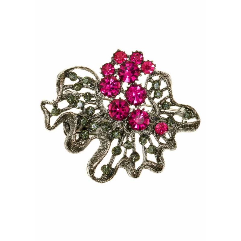 Rosie Fox Electric Pink Rose Bouquet Hairclip and Brooch - Bohemian Finds