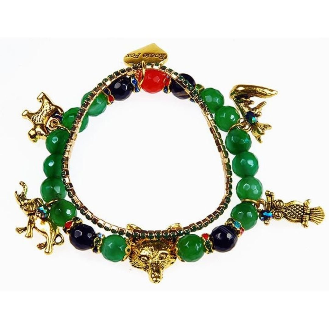 Rosie Fox Emerald Agate Charm Gemstone Bracelet - Bohemian Finds