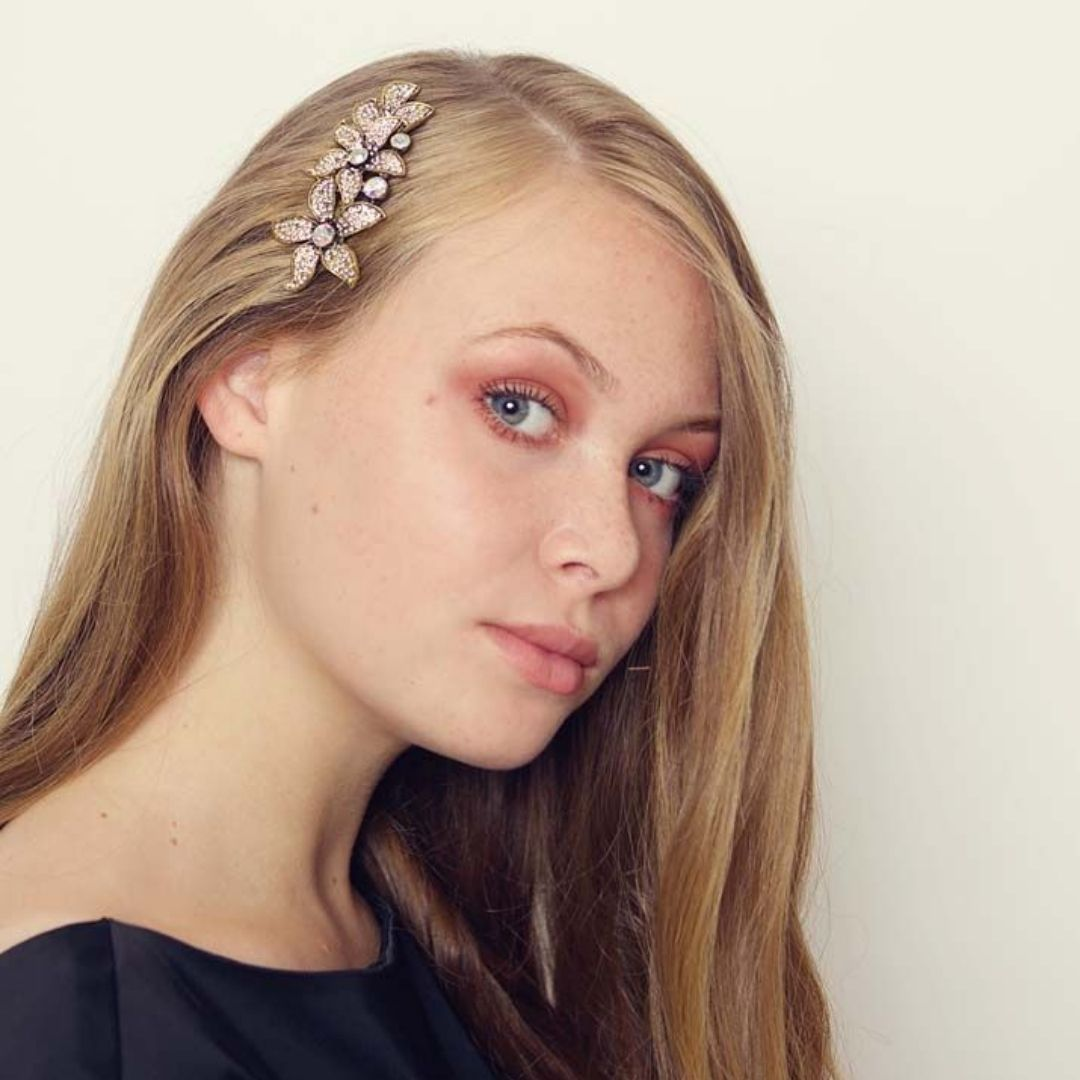 Rosie Fox Gold Elegant Crystal Floral Comb - Bohemian Finds