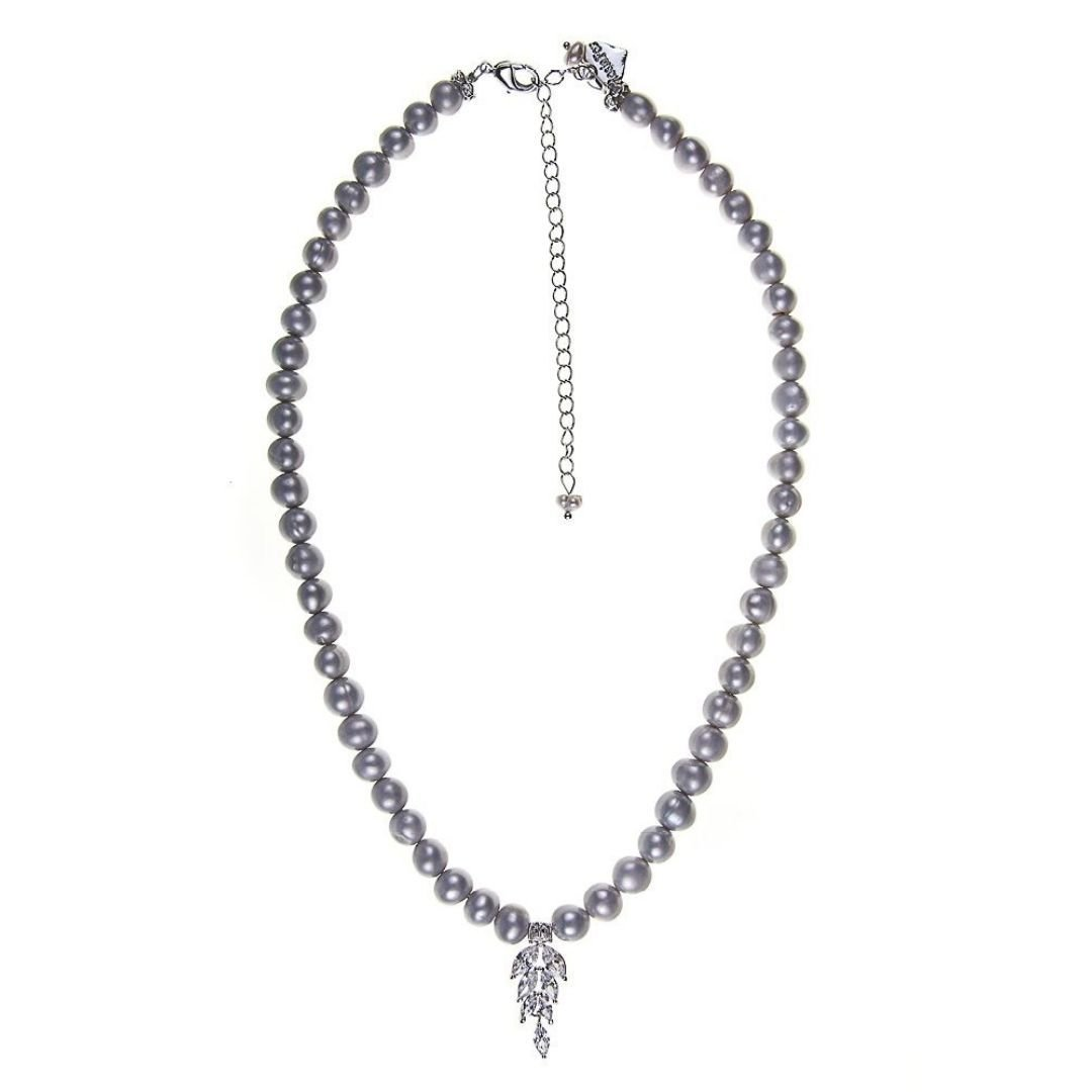 Rosie Fox Grey Freshwater Pearl Diva Crystal Leaf Necklace - Bohemian Finds