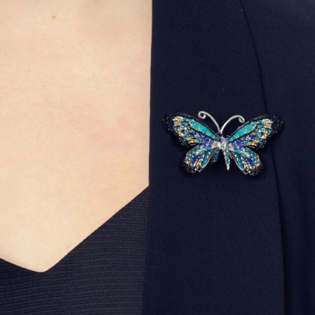 Rosie Fox Ocean Crystal Butterfly Hairclip and Brooch - Bohemian Finds