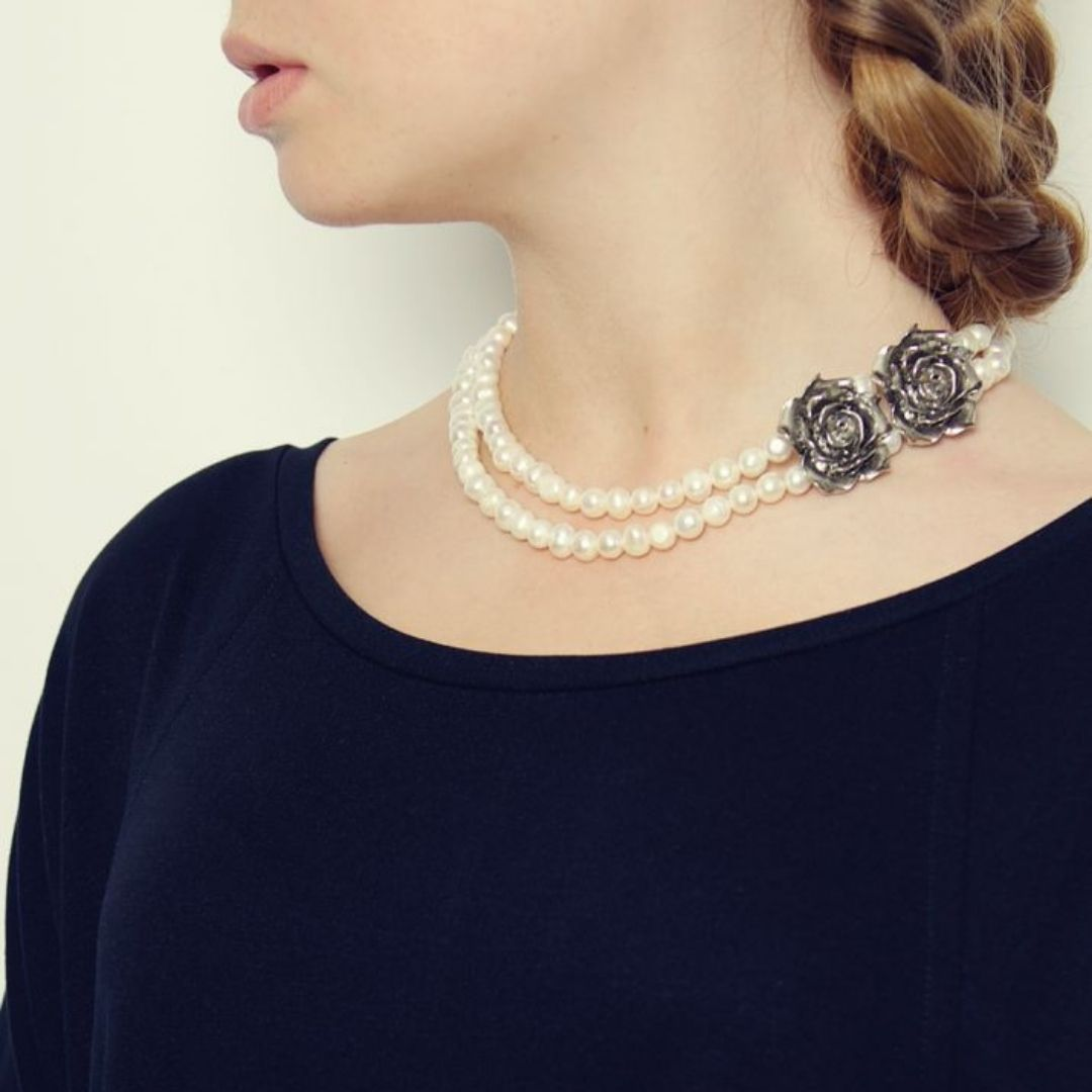 Rosie Fox Pearl Rose Necklace - Bohemian Finds