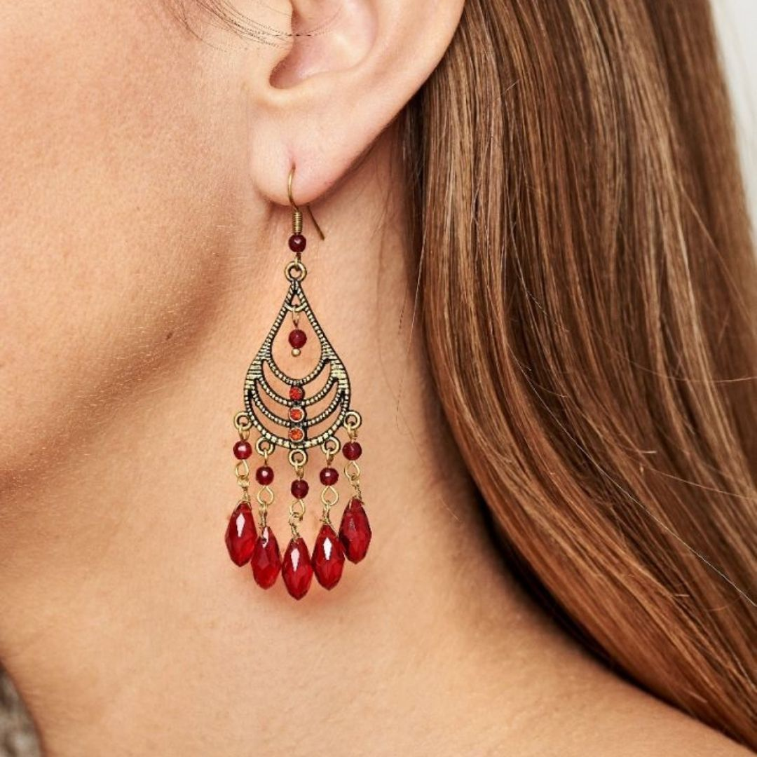 Rosie Fox Ruby Chandalier Earrings - Bohemian Finds