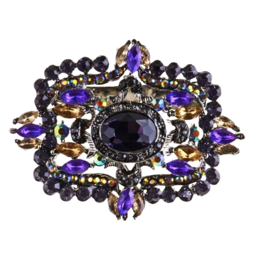 Rosie Fox Striking Purple Crystal Hairclip & Brooch - Bohemian Finds