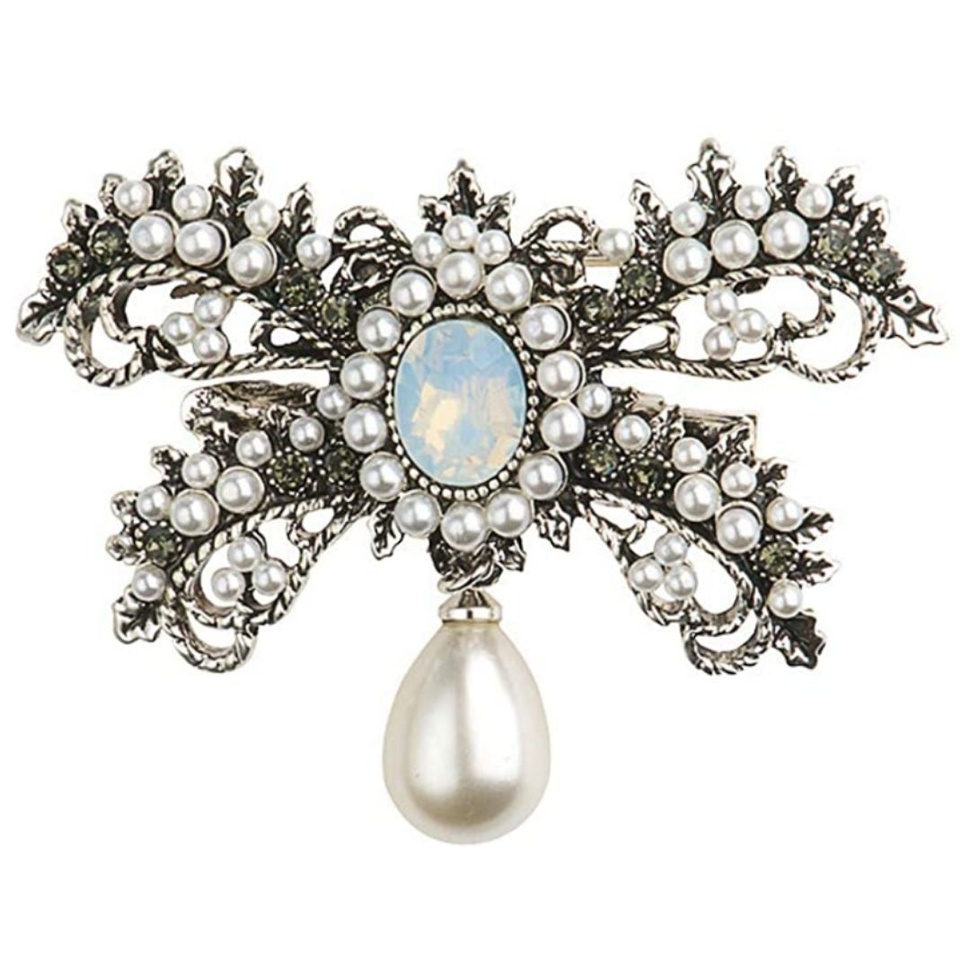 Rosie Fox Crystal & Pearl Hairclip & Brooch - Bohemian Finds