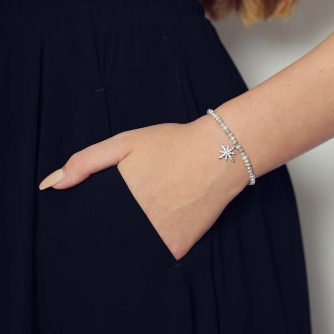 Rosie Fox Freshwater Grey Pearl Star Bracelet - Bohemian Finds