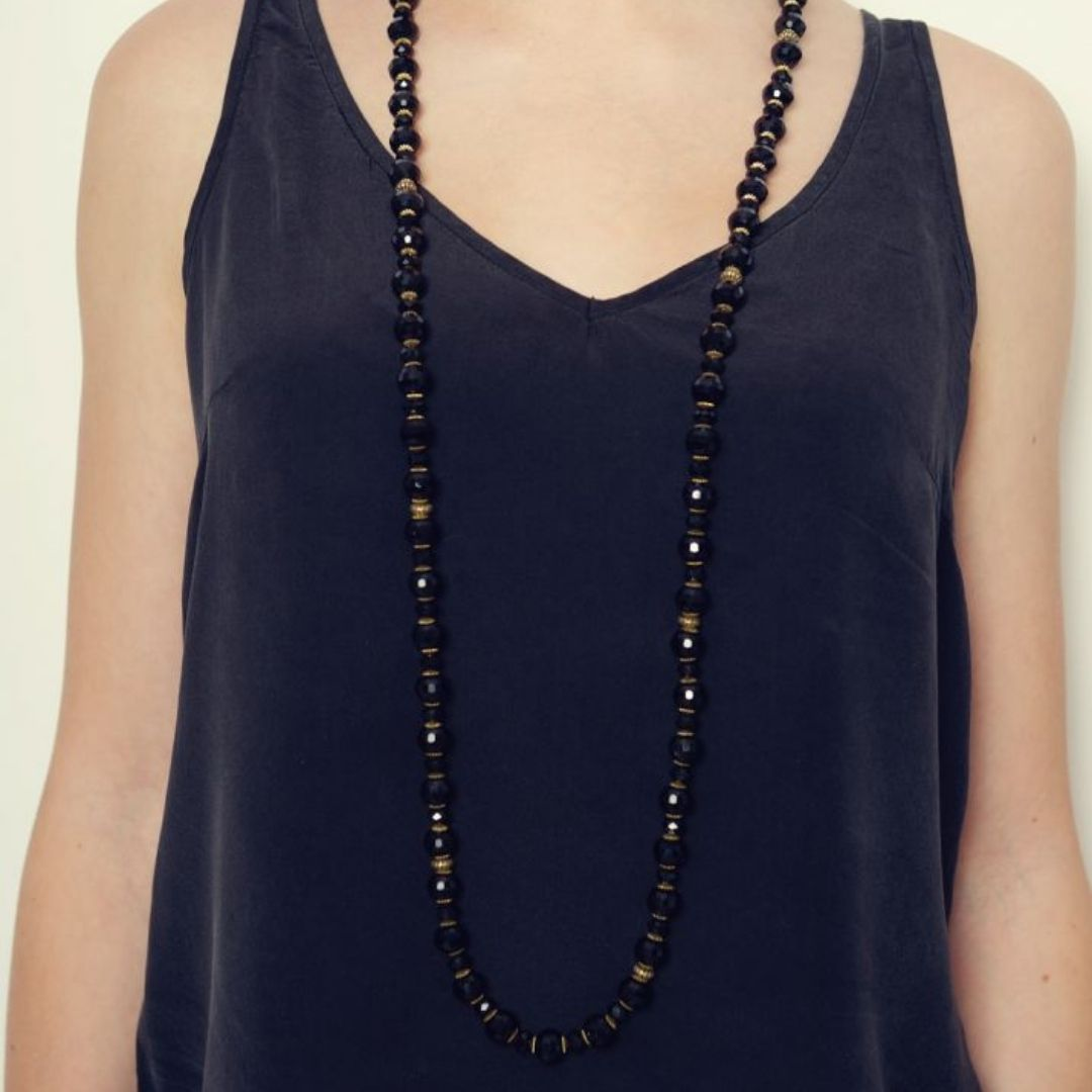 Rosie Fox Jet Long Necklace - Bohemian Finds