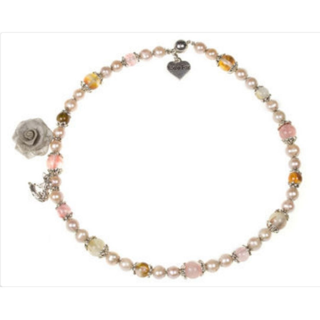 Rosie Fox Pink Pearl Charm Necklace - Bohemian Finds