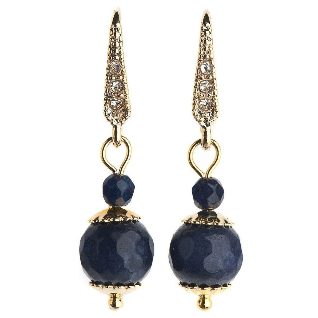 Rosie Fox Royal Navy Agate Ball Earrings - Bohemian Finds