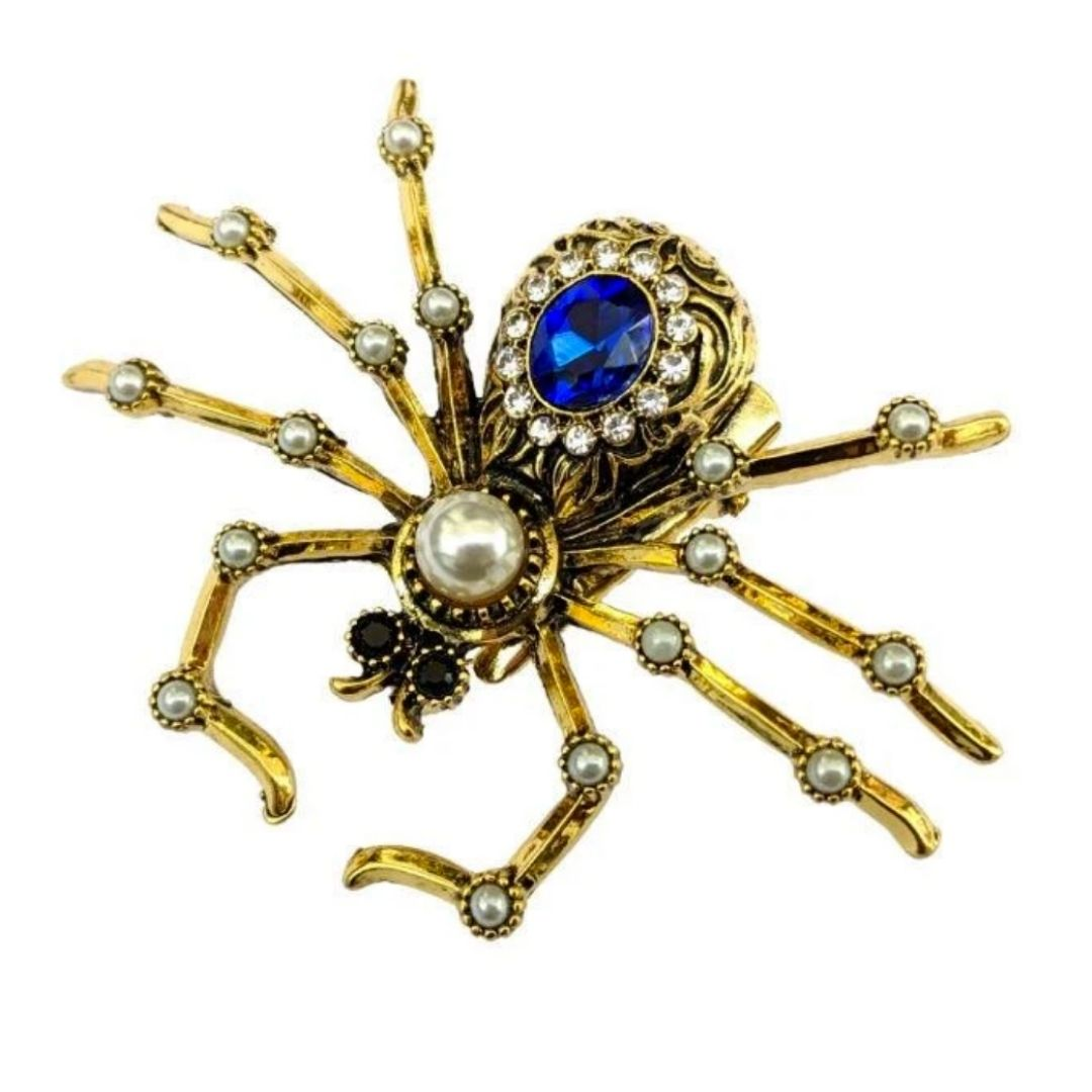 Rosie Fox Sapphire Crystal Spider Hair Clip/Brooch - Bohemian Finds